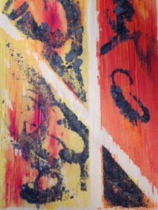 Correspondances peintures sur papier paille poudre d'ardoise